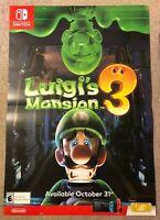 "Luigi's Mansion 3 Promo Display Wall Poster 48"" x 33"" / Nintendo Switch"