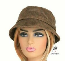 Ladies Faux Suede Leather Bucket Hat Fisherman's  Antique Style Quality BROWN