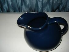 Large Yellow Ware Home Pitcher Tilted Ball Type Dark Blue Heavy