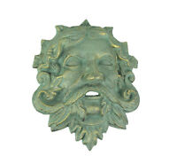 Cast Iron Celtic Green Man Wall Hanging Antiqued Verdigris Green Finish