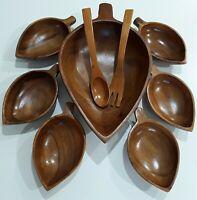 Vintage Mid-Century Retro Monkey Pod Acacia Wood Large Salad Bowl Set ~ 9pc Set
