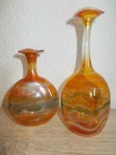 2x Schmid Lindberg Zwiesel Bayerischer Wald Glas Vase Flasche mit Signatur