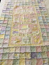 """CUTE! Vintage Handmade Sweet Dreams Rag Quilt 36"""" x 54"""" Baby wall lap #213"""