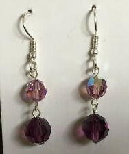 Purple Based Glass Crystal Earrings on Plated Wires.