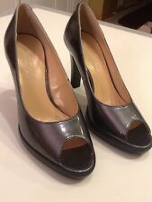 Chadwick's Collection Classic Peep Toe Pumps Gray Patent Look Women Sz 5M New
