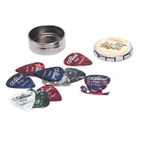12Pcs Acoustic Electric Guitar Picks Plectrums and1 Round Metal Picks HolderCRIT