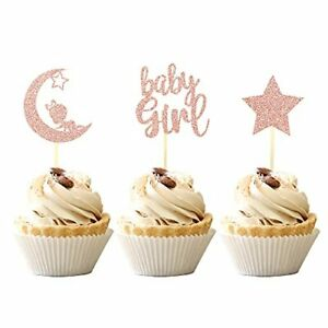 24 PCS Baby Girl Cupcake Toppers with Moon Star Glitter Baby Shower Cupcake P...