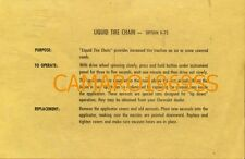 Liquid Tire Chain Instruction Card 1969 Camaro Chevelle Impala Z28 SS Yenko COPO