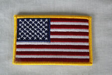 "2-Pack USA American Flag Embroidered Iron-on Patch - GOLD Border 3.5"" x 2.25"""
