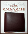 Coach Men's Double Billfold Sport Calf Leather Wallet MAHOGANY BROWN NWT 75084