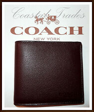 NWT $150 Coach Men's Double Billfold Sport Calf Leather Wallet MAHOGANY BROWN
