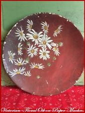1864 Antique Oil Painting FLOWERS on PAPER MACHE Plate Wall Hanging vintage Art