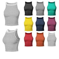 FashionOutfit Women's Stripe Sleeveless High Neck Ribbed RacerBack Crop Tank Top