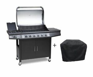 CosmoGrill 6+1 Deluxe Gas BBQ Barbecue Grill Inc Side Burner -  93416 with cover