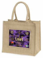 Libra Star Sign of the Zodiac Large Natural Jute Shopping Bag Christma, ZOD-7BLN