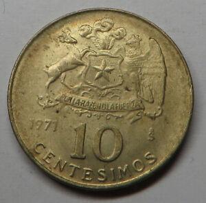 Chile 10 Centesimos 1971 Aluminum-Bronze KM#194 UNC