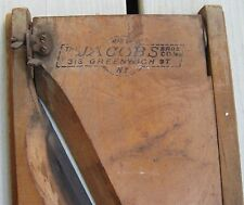 ANTIQUE UNIQUE WOODEN W/BLADE BACON SLICER JACOBS BROS Co. 313 GREENWICH ST NY