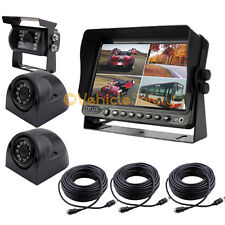 """7"""" QUAD MONITOR WITH DVR BACKUP CAMERA SAFETY SYSTEMS FOR TRUCK TRAILER RV"""