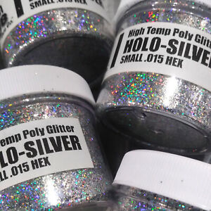 NEW 2 OZ. Jar HOLO-SILVER Hi-Temp Glitter .015 Hex Fishing Lure Making plastisol