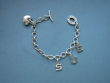 VGC Genuine LINKS OF LONDON Silver CHARM BRACELET + 4 Charms HEART + S U E  7.5""