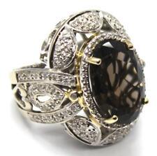 Na Hoku 14k White Gold Diamond & Smoky Quartz Ring