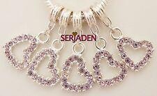 5 Pink Dangling Heart Charm Pendant European Jewelry 13 * 31 & 5 mm Hole R207