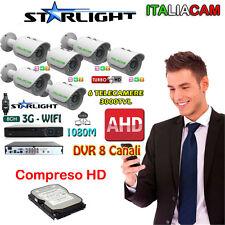 VIDEOSORVEGLIANZA  NOTTURNO A COLORI - DVR 8 CANALI + 6 3000MPX + HD SATA