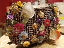 Mary Francis Handbag - Tiny Garden Floral Basket