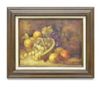 NY Art - 12x16 Impressionist Fruit Basket Still Life Oil Painting with Frame!!