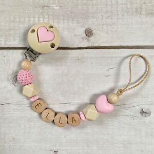 Schnullerkette Nuckelkette mit Namen Mädchen rosa beige holz Silikon