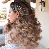 Women Crystal Rhinestone Hair Clip Barrette Side Snap Stick Hairpin Headwear