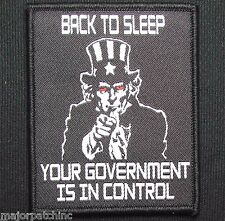 BACK TO SLEEP GOVERNMENT CONTROL USA UNCLE SAM SWAT HOOK & LOOP MORALE PATCH