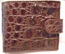 GENUINE CROCODILE BELLY-BONE SKIN LEATHER POCKET BOOK BIFOLD BROWN WALLET NEW