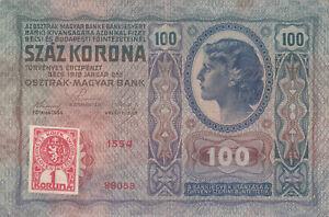 100 KORUN VF PROVISIONAL BANKNOTE FROM CZECHOSLOVAKIA 1919 PICK-4a