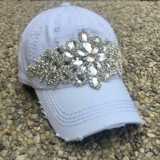 Olive & Pique NWT Bling Glitz Deco Distressed Look Baseball Cap - White