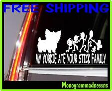 MY YORKIE ATE YOUR STICK FAMILY VINYL DECAL STICKER CAR TRUCK