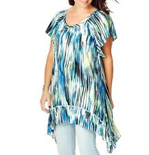 Flowing Round Neck Ladies Boho Chic Style Flutter Sleeve Tunic Size 20 FREE POST