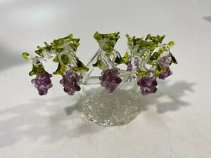Crystal 8 Purple Grape Bunches Hanging On Tree Great Gift