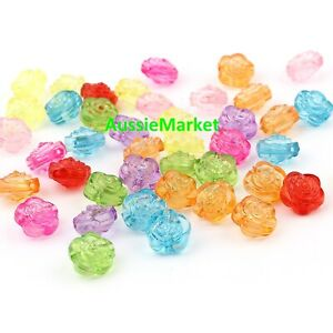 50 x flower floral transparent beads mixed colours acrylic plastic 12mm x 12mm
