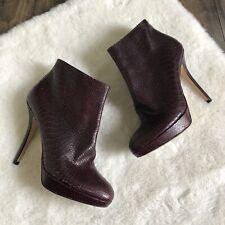 Christian Dior Python Platform Booties Wine Boots Snakeskin 39.5