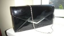 CLARKS BLACK FAUX LEATHER PATENT CLUTCH/SHOULDER BAG