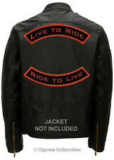 LIVE TO RIDE - ORANGE/BLACK - TWO EMBROIDERED PATCHES LARGE ROCKER PATCH IRON-ON