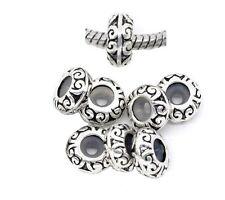 10pcs Silver /P European Stopper Rubber Charm Beads Fit European Bracelet K25