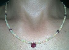 Stunning light show of super fire opal and Genuine Natural Ruby 14k necklace