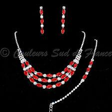 """Parure de bijoux cristal rouge collier bracelet BO mariage soir miss """"Louisiane"""""""