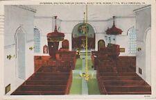 """*Postcard-""""Interior of Bruton Parish Church""""-Williamsburg, VA (PM 1935) (#46)"""