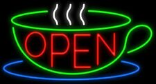 "New Open Coffee Cafe Tea Cup Light Lamp Real Glass Neon Sign 32"" Open Bar"