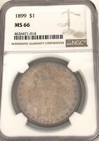 LOOK___1899- NGC MS-66, U.S. MORGAN SILVER DOLLAR, KEY DATE, ONLY 330,000 MINTED