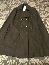 French Connection Wool Cape Coat Double Breasted Sherlock Smart Office UK 8