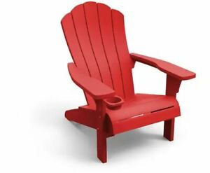 Keter Adirondack Chair w/ Cup Holder Outdoor Backyard Relaxation -RED-GRAY-BROWN